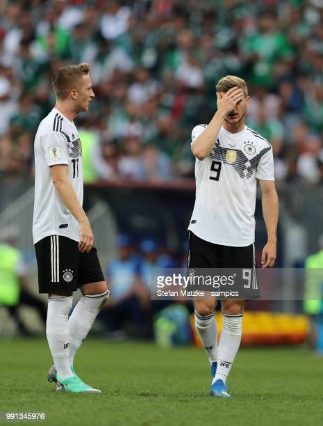 Timo Werner of Germany Marco Reus of Germany during the 2018 FIFA World Cup Russia group F match between Germany and Mexico at Luzhniki Stadium on...
