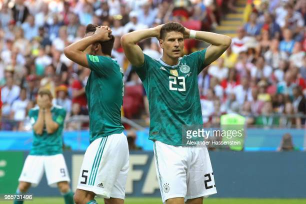 Timo Werner of Germany Mats Hummels and his team mate Mario Gomez react during the 2018 FIFA World Cup Russia group F match between Korea Republic...