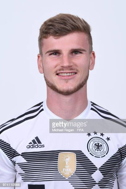 Timo Werner of Germany pose for a photo during the official FIFA World Cup 2018 portrait session on June 13 2018 in Moscow Russia