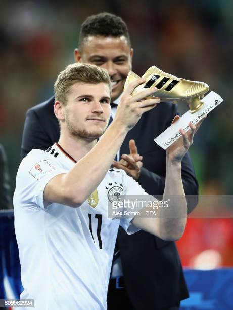 Timo Werner of Germany poses with the adidas Golden Boot award after the FIFA Confederations Cup Russia 2017 final between Chile and Germany at Saint...