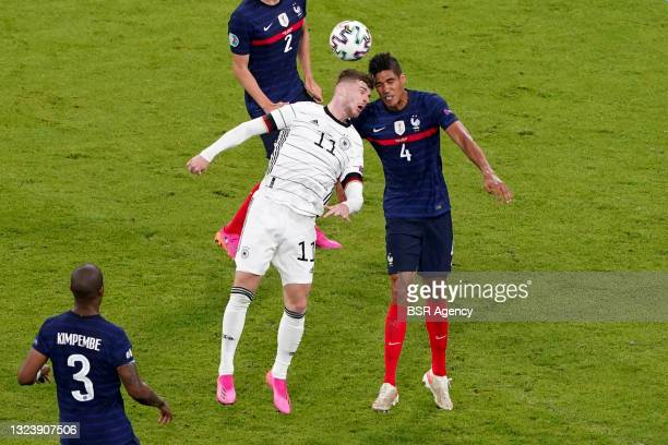 Timo Werner of Germany, Raphael Varane of France during the UEFA Euro 2020 match between France and Germany at Allianz Arena on June 15, 2021 in...