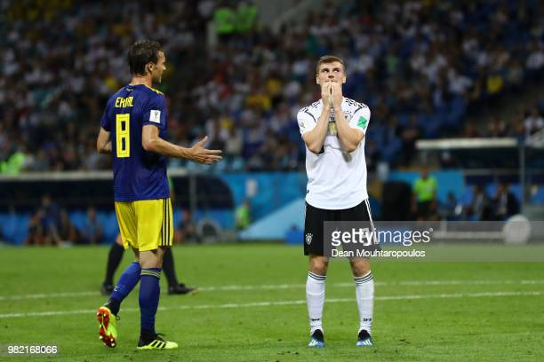 Timo Werner of Germany reacts during the 2018 FIFA World Cup Russia group F match between Germany and Sweden at Fisht Stadium on June 23 2018 in...