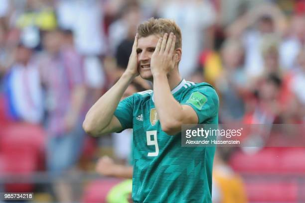 Timo Werner of Germany reacts during the 2018 FIFA World Cup Russia group F match between Korea Republic and Germany at Kazan Arena on June 27 2018...