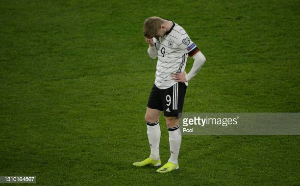 Timo Werner of Germany reacts during the FIFA World Cup 2022 Qatar qualifying match between Germany and North Macedonia at Schauinsland-Reisen-Arena...