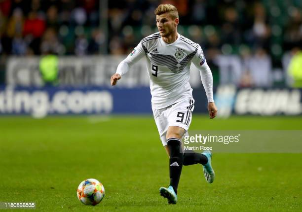 TImo Werner of Germany runs with the ball during the UEFA Euro 2020 qualifier between Estonia and Germany at A.Le Coq Arena on October 13, 2019 in...