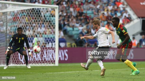 Timo Werner of Germany scores his sides second goal during the FIFA Confederations Cup Russia 2017 Group B match between Germany and Cameroon at...