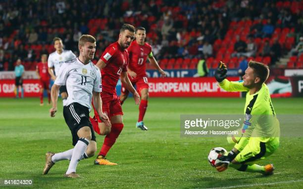 Timo Werner of Germany scores his team's first goal past goalkeeper Tomas Vaclik of Czech Republik during the FIFA World Cup Russia 2018 Group C...