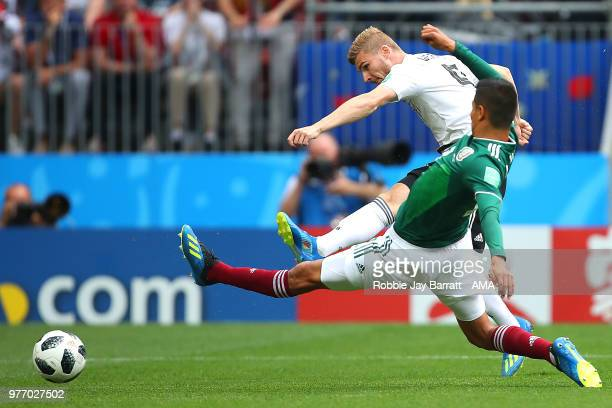 Timo Werner of Germany shoots at goal during the 2018 FIFA World Cup Russia group F match between Germany and Mexico at Luzhniki Stadium on June 17...
