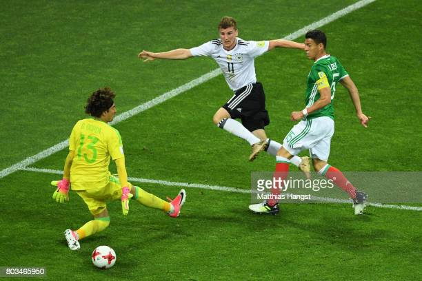 Timo Werner of Germany shoots wide during the FIFA Confederations Cup Russia 2017 SemiFinal between Germany and Mexico at Fisht Olympic Stadium on...