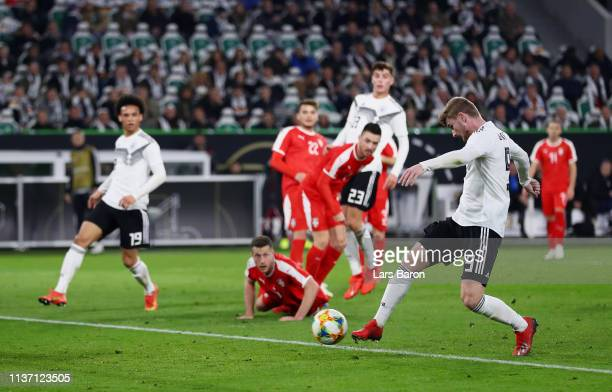Timo Werner of Germany shoots wide during the International Friendly match between Germany and Serbia at Volkswagen Arena on March 20 2019 in...
