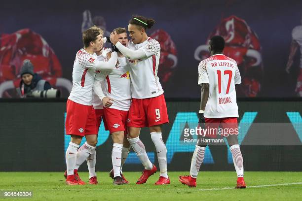 Timo Werner of Leipzig celebrates after he scored a goal to make it 21 during the Bundesliga match between RB Leipzig and FC Schalke 04 at Red Bull...