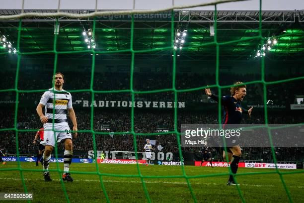 Timo Werner of Leipzig celebrates after scoring a goal to make it 02 during the Bundesliga match between Borussia Moenchengladbach and RB Leipzig at...