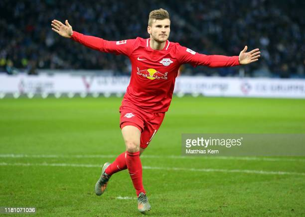 Timo Werner of Leipzig celebrates after scoring his team's first goal during the Bundesliga match between Hertha BSC and RB Leipzig at Olympiastadion...