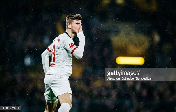 Timo Werner of Leipzig celebrates his goal during the Bundesliga match between Borussia Dortmund and RB Leipzig at Signal Iduna Park on December 17,...