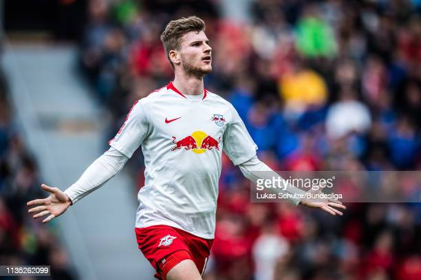 Timo Werner of Leipzig celebrates his team's goal during the Bundesliga match between Bayer 04 Leverkusen and RB Leipzig at BayArena on April 6, 2019...