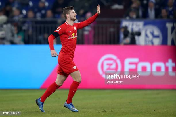 Timo Werner of Leipzig celebrates his team's second goal during the Bundesliga match between FC Schalke 04 and RB Leipzig at Veltins-Arena on...