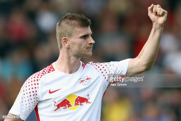 Timo Werner of Leipzig celebrates his team's third goal during the DFB Cup first round match between Sportfreunde Dorfmerkingen and RB Leipzig at...