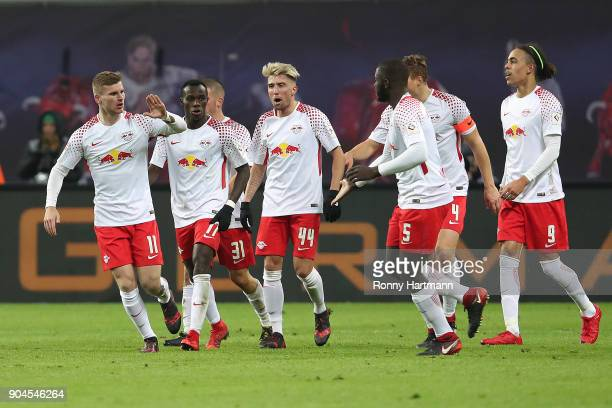 Timo Werner of Leipzig celebrates with his team after he scored a goal to make it 21 during the Bundesliga match between RB Leipzig and FC Schalke 04...