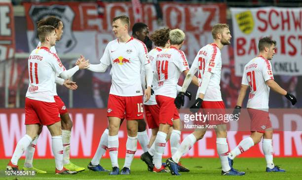 Timo Werner of Leipzig celebrates with teammates after scoring his team's second goal during the Bundesliga match between RB Leipzig and SV Werder...