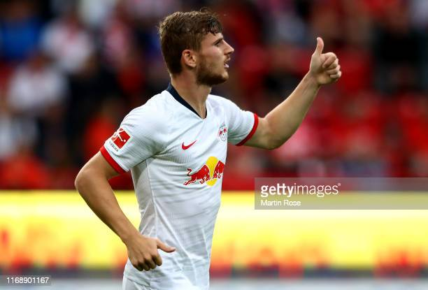 Timo Werner of Leipzig gestures during the Bundesliga match between 1 FC Union Berlin and RB Leipzig at Stadion An der Alten Foersterei on August 18...