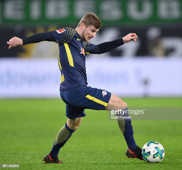 Timo Werner of Leipzig in action during the Bundesliga match between VfL Wolfsburg and RB Leipzig at Volkswagen Arena on December 12 2017 in...