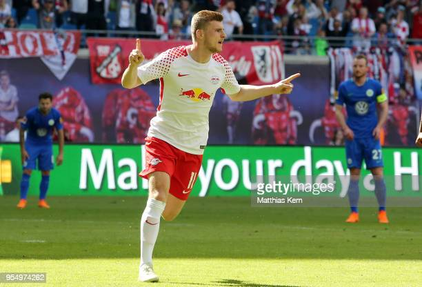 Timo Werner of Leipzig jubilates after scoring the second goal during the Bundesliga match between RB Leipzig and VfL Wolfsburg at Red Bull Arena on...