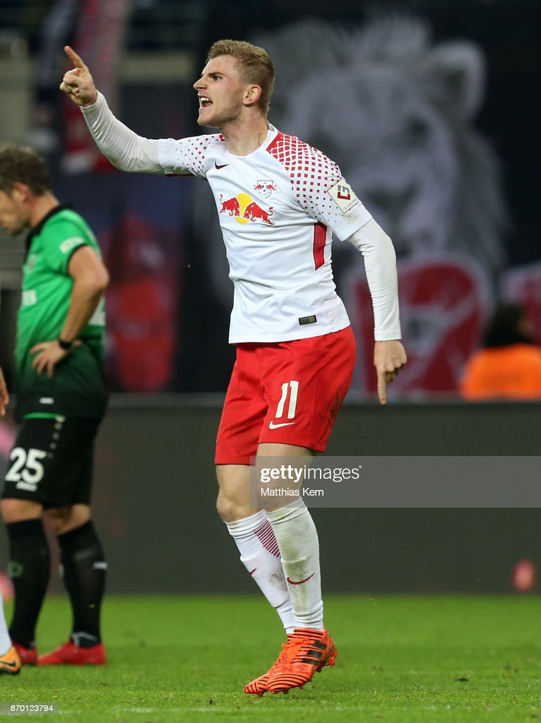 Timo Werner of Leipzig jubilates after scoring the third goal during the Bundesliga match between RB Leipzig and Hannover 96 at Red Bull Arena on November 4, 2017 in Leipzig, Germany.