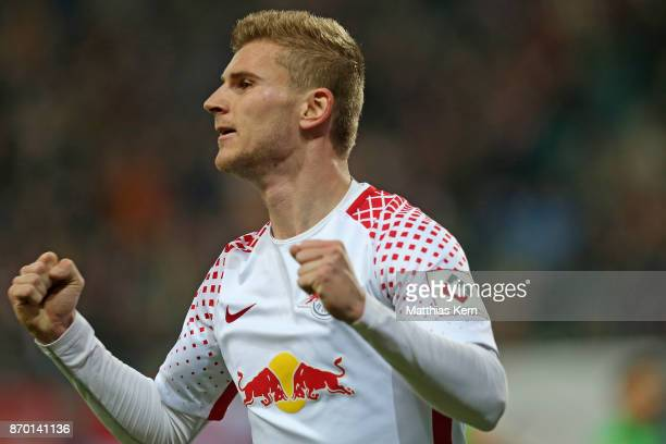 Timo Werner of Leipzig jubilates after team mate Yussuf Poulsen scoring the second goal during the Bundesliga match between RB Leipzig and Hannover...