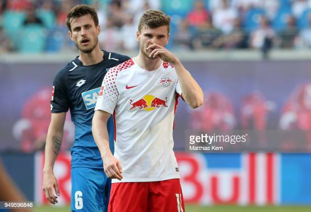 Timo Werner of Leipzig looks on after the Bundesliga match between RB Leipzig and TSG 1899 Hoffenheim at Red Bull Arena on April 21 2018 in Leipzig...