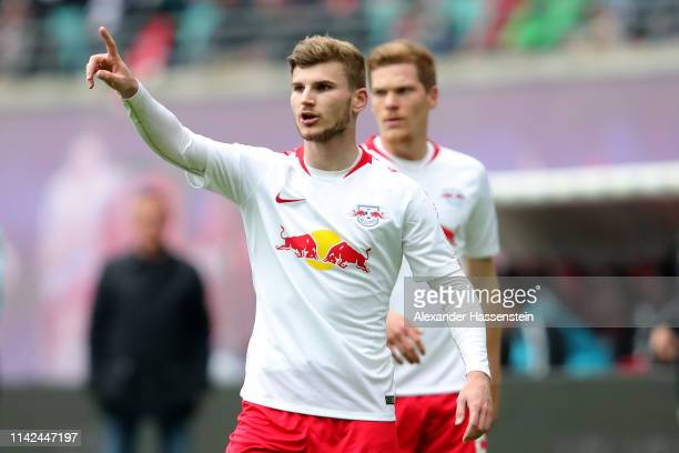 Timo Werner of Leipzig reacts during the Bundesliga match between RB Leipzig and VfL Wolfsburg at Red Bull Arena on April 13 2019 in Leipzig Germany