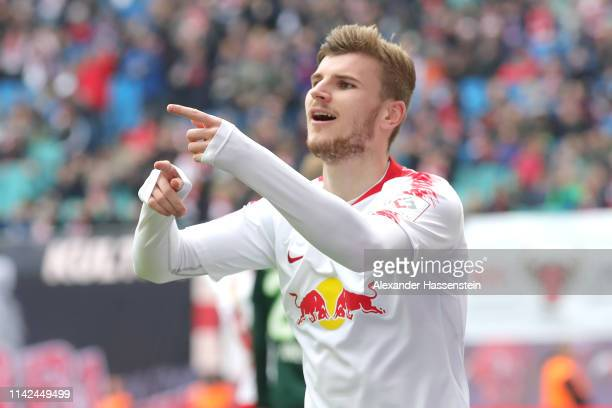 Timo Werner of Leipzig reacts during the Bundesliga match between RB Leipzig and VfL Wolfsburg at Red Bull Arena on April 13, 2019 in Leipzig,...
