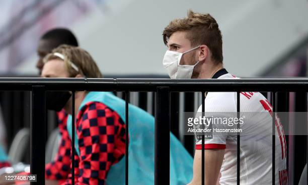 Timo Werner of Leipzig reacts during the Bundesliga match between RB Leipzig and Hertha BSC at Red Bull Arena on May 27 2020 in Leipzig Germany The...