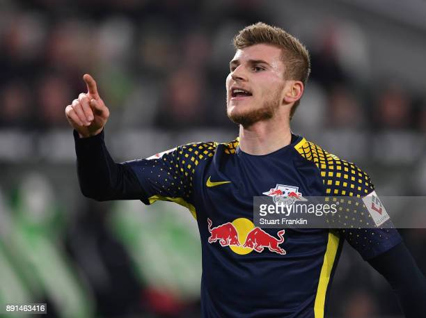 Timo Werner of Leipzig reacts during the Bundesliga match between VfL Wolfsburg and RB Leipzig at Volkswagen Arena on December 12 2017 in Wolfsburg...