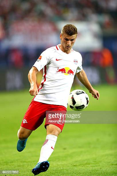 Timo Werner of Leipzig runs with the ball during the Bundesliga match between RB Leipzig and Borussia Dortmund at Red Bull Arena on September 10 2016...