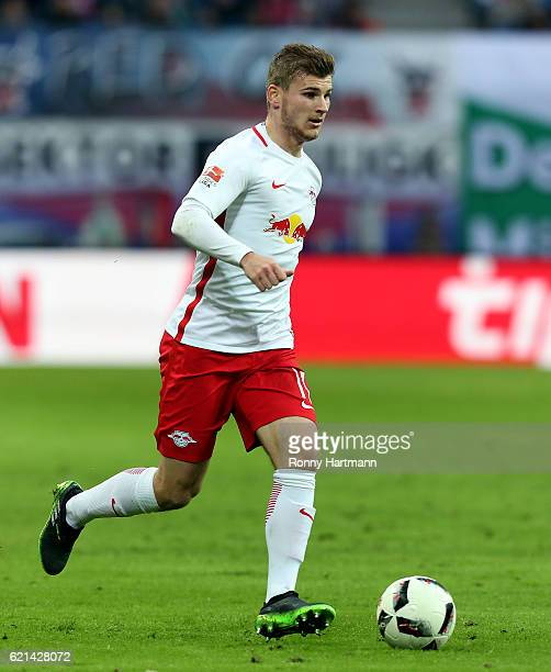 Timo Werner of Leipzig runs with the ball during the Bundesliga match between RB Leipzig and 1 FSV Mainz 05 at Red Bull Arena on November 6 2016 in...