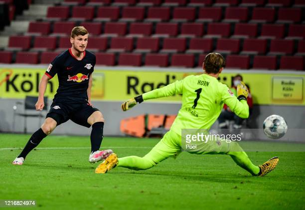 Timo Werner of Leipzig scores his sides third goal during the Bundesliga match between 1. FC Koeln and RB Leipzig at RheinEnergieStadion on June 1,...