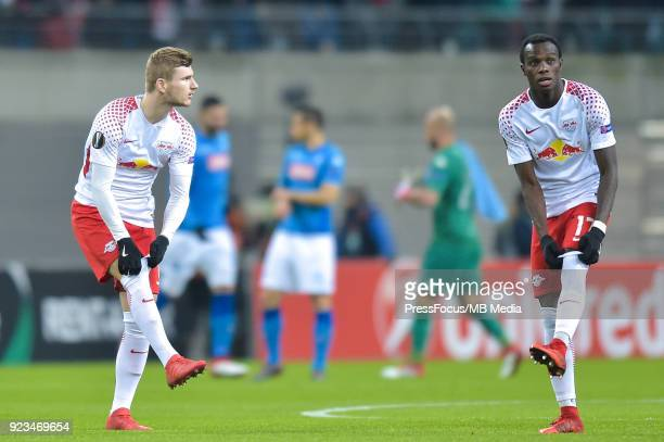 Timo Werner of RB Leipzig and Bruma of RB Leipzig during UEFA Europa League Round of 32 match between RB Leipzig and Napoli at the Red Bull Arena on...
