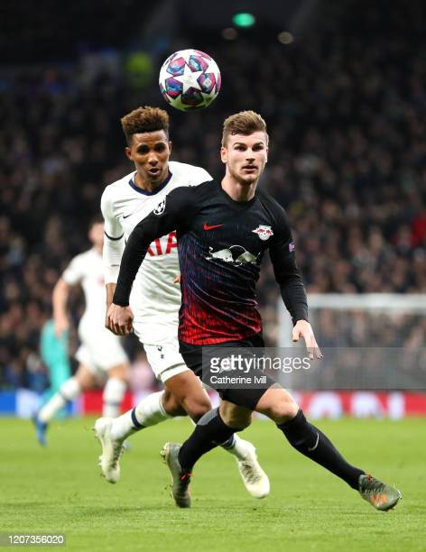 Timo Werner of RB Leipzig and Gedson Fernandes of Tottenham Hotspur during the UEFA Champions League round of 16 first leg match between Tottenham...