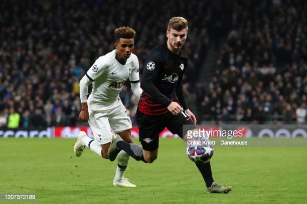 Timo Werner of RB Leipzig and Gedson Fernandes of Tottenham Hotspur in action during the UEFA Champions League round of 16 first leg match between...