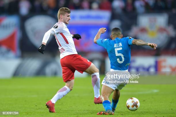Timo Werner of RB Leipzig and Marques loureiro Allan of Napoli during UEFA Europa League Round of 32 match between RB Leipzig and Napoli at the Red...