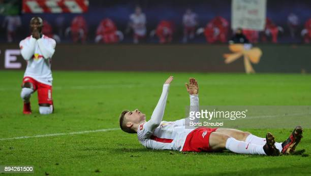 Timo Werner of RB Leipzig and Naby Keita of RB Leipzig react during the Bundesliga match between RB Leipzig and Hertha BSC at Red Bull Arena on...