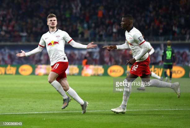 Timo Werner of RB Leipzig celebrates after scoring his sides first goal during the Bundesliga match between RB Leipzig and 1. FC Union Berlin at Red...