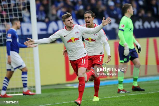 Timo Werner of RB Leipzig celebrates after scoring his team's first goal during the Bundesliga match between FC Schalke 04 and RB Leipzig at...