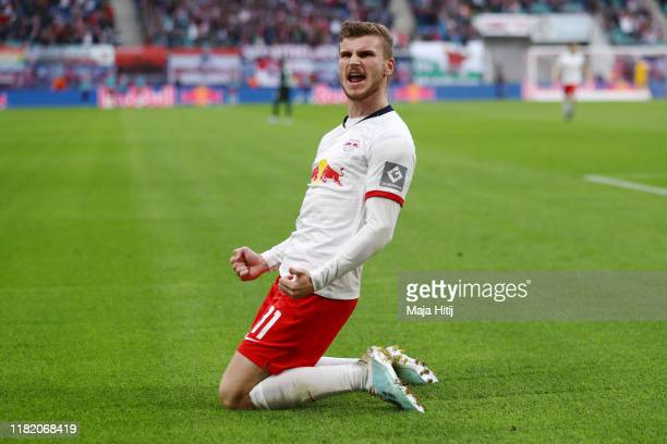 Timo Werner of RB Leipzig celebrates after scoring his team's first goal during the Bundesliga match between RB Leipzig and VfL Wolfsburg at Red Bull...