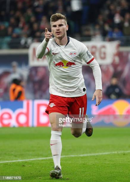 Timo Werner of RB Leipzig celebrates after scoring his team's first goal during the Bundesliga match between RB Leipzig and 1. FC Koeln at Red Bull...