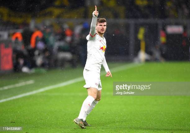 Timo Werner of RB Leipzig celebrates after scoring his team's first goal during the Bundesliga match between Borussia Dortmund and RB Leipzig at...