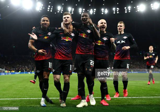 Timo Werner of RB Leipzig celebrates after scoring his team's first goal during the UEFA Champions League round of 16 first leg match between...