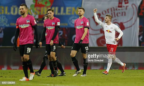 Timo Werner of RB Leipzig celebrates after scoring his team's first goal during the Bundesliga match between RB Leipzig and Hertha BSC at Red Bull...