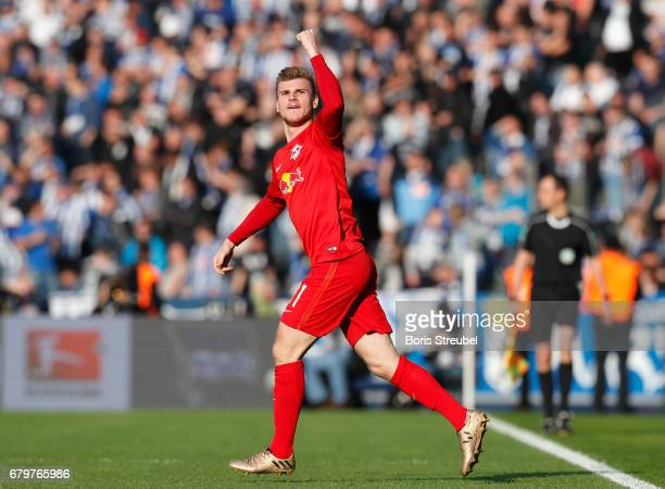 Timo Werner of RB Leipzig celebrates after scoring his team's first goal during the Bundesliga match between Hertha BSC and RB Leipzig at...