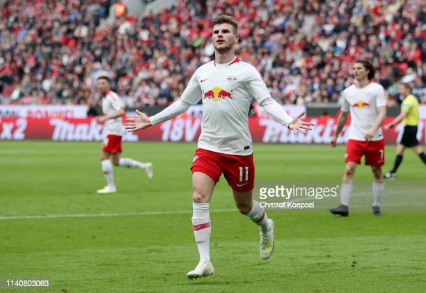 Timo Werner of RB Leipzig celebrates after scoring his team's second goal during the Bundesliga match between Bayer 04 Leverkusen and RB Leipzig at...